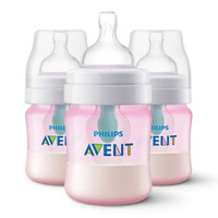 Philips Avent Anti-Colic Bottle with AirFree Vent - Pink - 4 oz (3 Pack)_thumb1