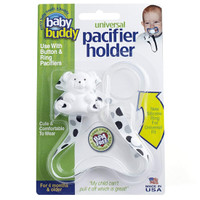Baby Buddy Universal Pacifier Holder - Dots - Black/Grey