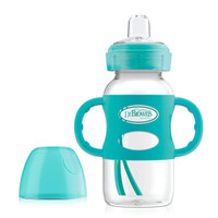 Dr. Brown Options Wide-Neck Sippy Spout Baby Bottle with Handle - 9oz - Turquoise_thumb1