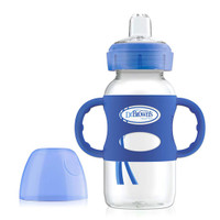 Dr. Brown Options Wide-Neck Sippy Spout Baby Bottle with Handle - 9oz - Blue_thumb1