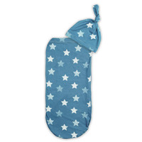 Itzy Ritzy Cocoon and Hat Swaddle Set in Blue Stars