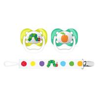 Dr. Brown Advantage Pacifier with Pacifier Clip - Caterpillar & Orange Set