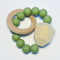 Sugar + Maple Silicone with Beechwood Teether - Gem Moss