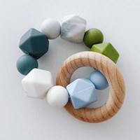 Sugar + Maple Silicone with Beechwood Teether - Multi Color Blue