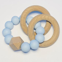 Sugar + Maple Silicone with Beechwood Teether - Rings Blue