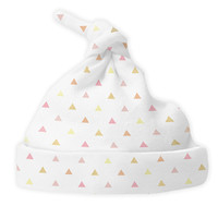 Swaddle Designs Cotton Knit Hat - Tiny Triangles Shimmer Pink
