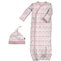 Magnificent Baby Magnetic Me Pink Elephant Sack Gown and Hat Set