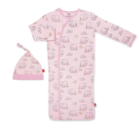 Magnificent Baby Magnetic Me Love You A Ton Pink Footie Sack Gown and Hat Set