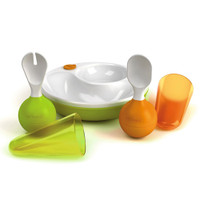 Lansinoh mOmma Developmental Meal Set - Orange/Green