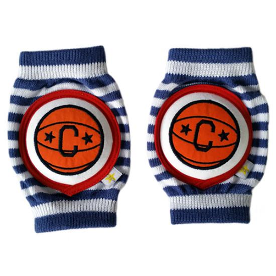 Crawlings Baby Knee Pad - Basketball Navy Stripes