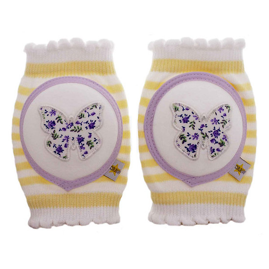 Crawlings Baby Knee Pad - Sugar Cookie Yellow Butterfly