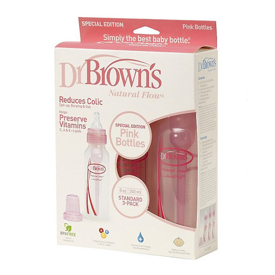 Dr. Brown Natural Flow Bottle Pink 8 oz - 3pk-2