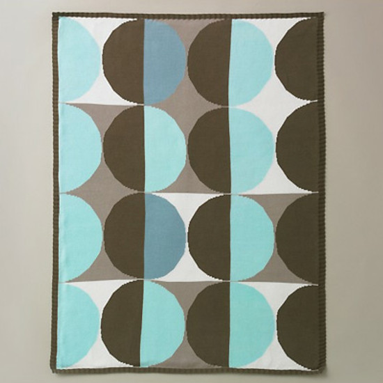DwellStudio Geometric Blue Knit Blanket