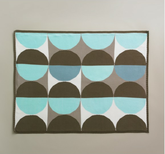 DwellStudio Geometric Blue Knit Blanket-2