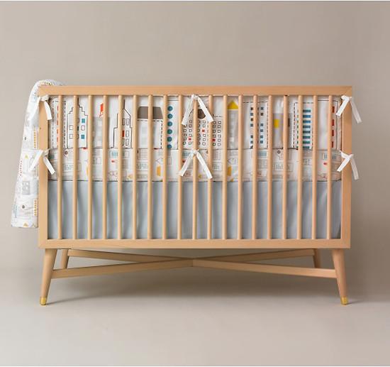 DwellStudio Skyline Light Blue Fitted Crib Sheet-2