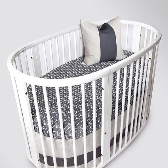Oilo Stokke Sleepi Band Crib Skirt - Linen-2