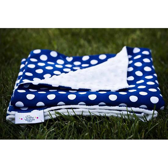 Baby Elephant Ears, Inc. Large Blankets - Royal Blue Dot