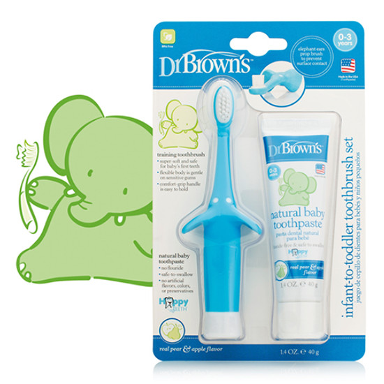 Dr. Brown Infant-to-Toddler Toothbrush Set - Blue