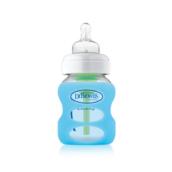 Dr. Brown Wide Neck Glass Bottle Sleeve 5 oz - Blue