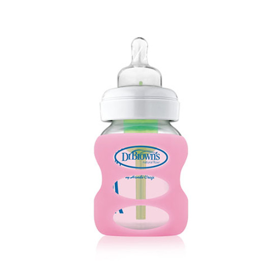 Dr. Brown Wide Neck Glass Bottle Sleeve 5 oz - Light Pink