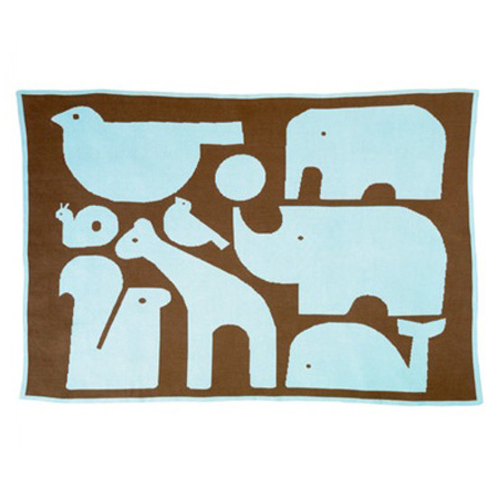DwellStudio Animals Chocolate Graphic Knit Blanket Product