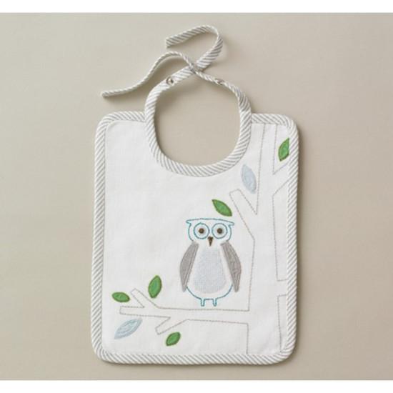 DwellStudio Owls Sky Embroidered Bib Product
