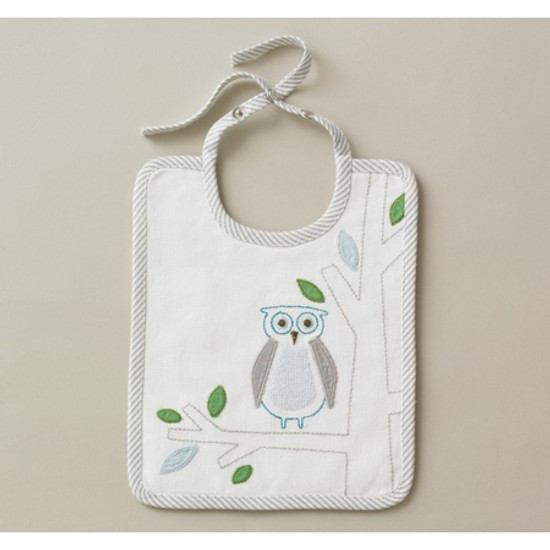DwellStudio Owls Sky Embroidered Bib