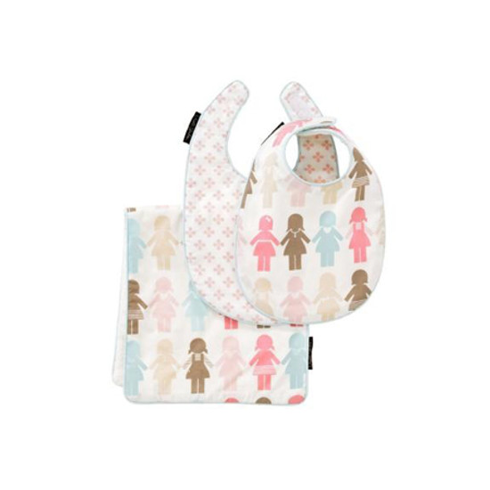 DwellStudio Paper Dolls Bib & Burp Set