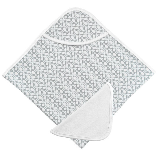 Kushies Hooded Towel & Terry Wash Cloth - Grey Octagon Product