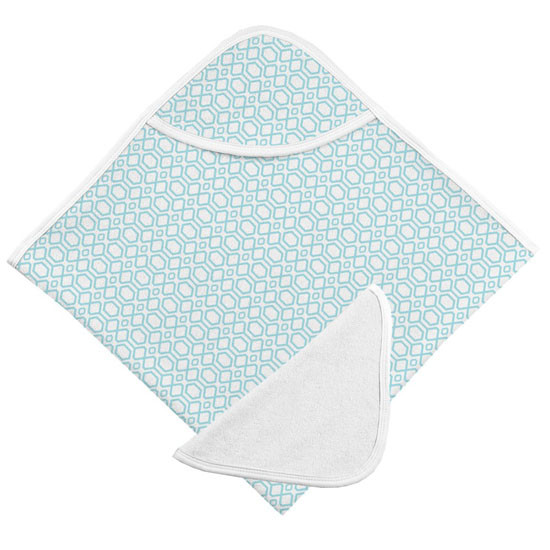 Kushies Hooded Towel & Terry Wash Cloth - Turquoise Octagon