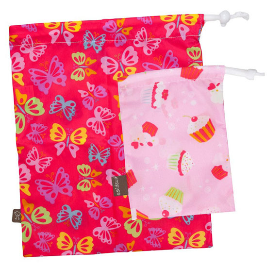 Kushies On The Go Wet Bag with Pacifier Pouch - Girl Print