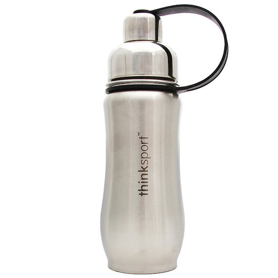 ThinkBaby thinksport Insulated Sports Bottle 12oz - Natural Silver