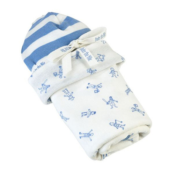 Under The Nile Stroller Blanket & Hat Gift Set - Boy People Print