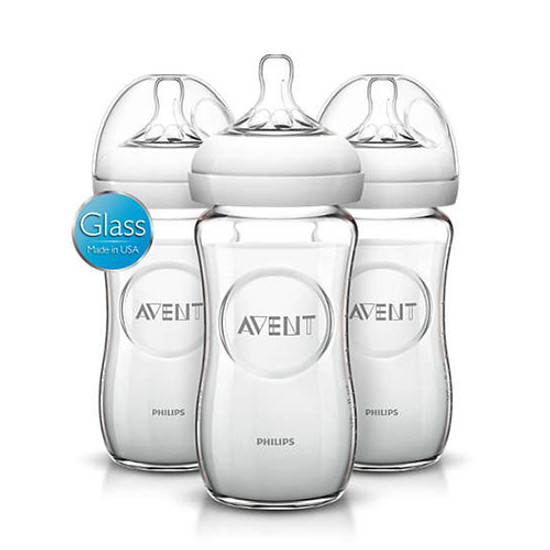 Philips Avent Natural Glass Bottle - 8 oz - 3 Pack