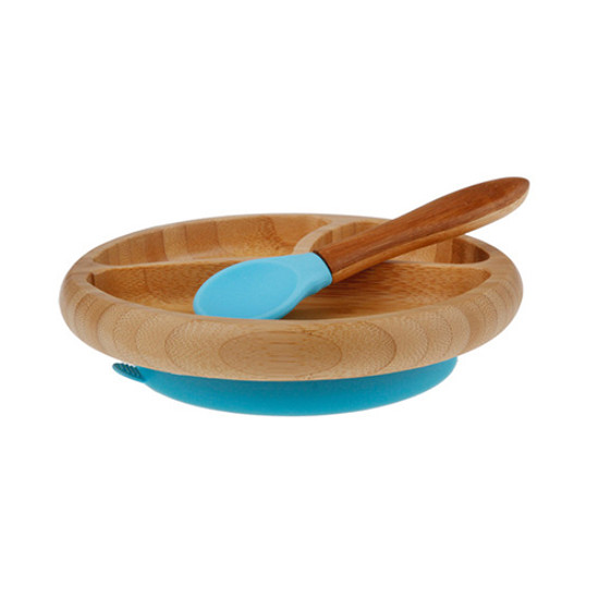 Avanchy Bamboo Stay Put Suction Divided Plate - Blue