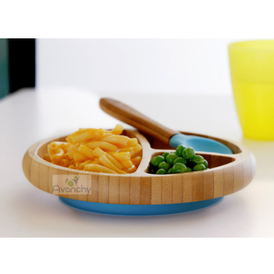 Avanchy Bamboo Stay Put Suction Divided Plate - Yellow-4
