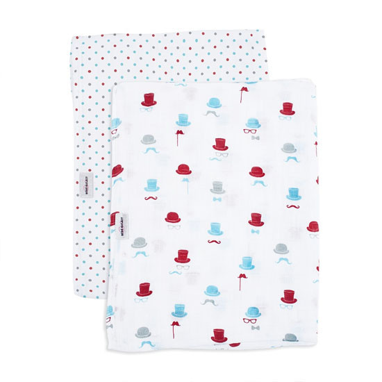 Bebe Au Lait Classic Muslin Swaddle Blanket Set - Bowler and Polka-2