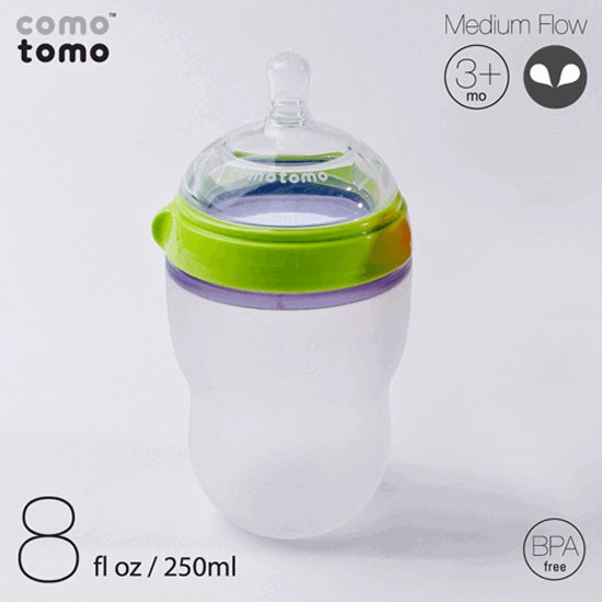 Comotomo Natural Feel Baby Bottle - 8 oz  - Green-5