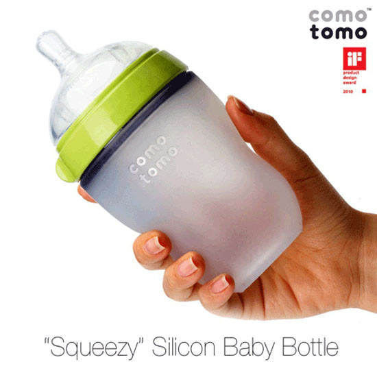 Comotomo Natural Feel Baby Bottle - 8 oz  - Green-6