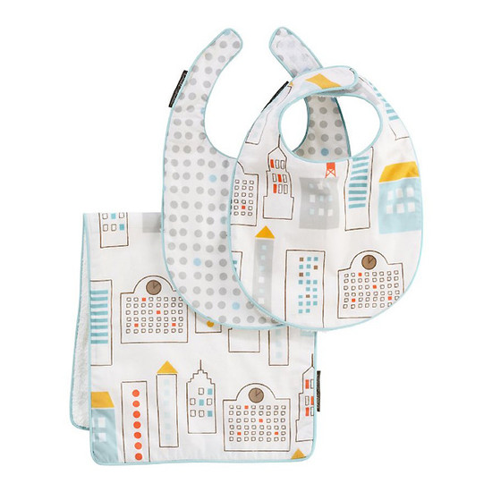 DwellStudio Skyline Light Blue Bib & Burp Set