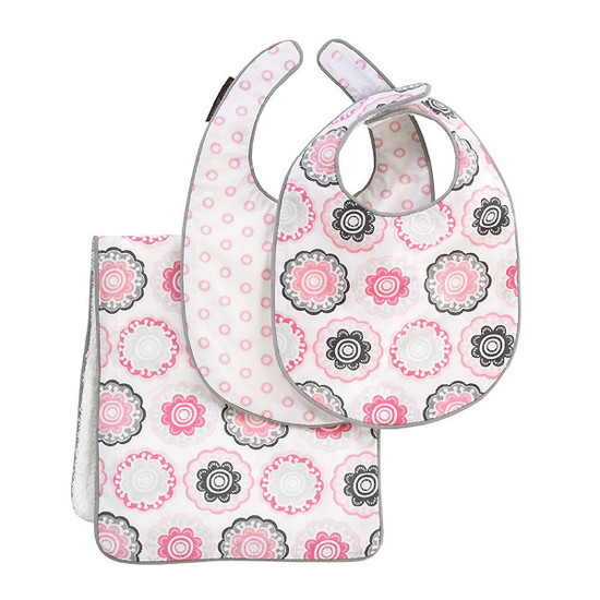 DwellStudio Zinnia Rose Bib & Burp Set