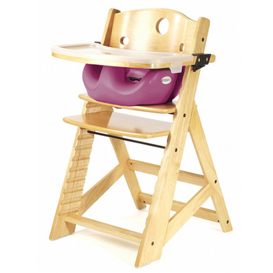 Keekaroo Height Right High Chair with Tray & Insert Natural Raspberry
