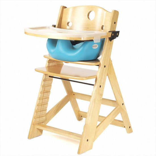 Keekaroo Height Right High Chair with Tray & Insert Natural Aqua