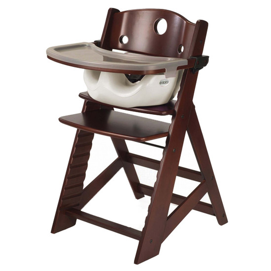 Keekaroo Height Right High Chair with Tray & Vanilla Insert - Mahogany