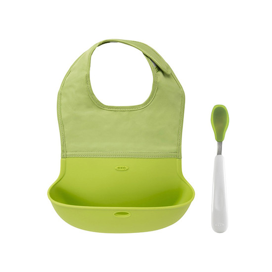 OXO TOT Bib and Feeding Spoon Set - Green