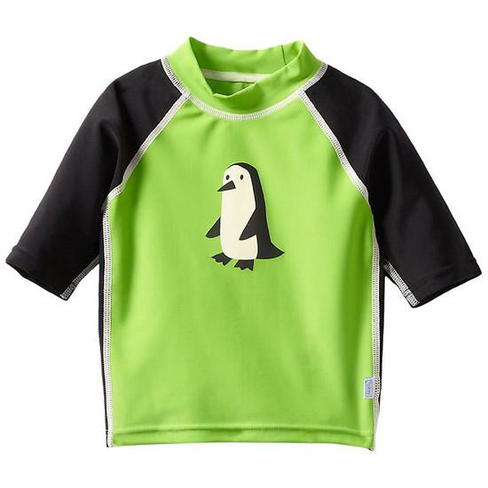 i play. Mod Three-Quarter Sleeve Rashguard - Green Penguin-1