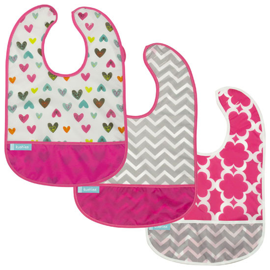 Kushies Cleanbib - Doodle Hearts/Modern Flowers/Pink Chevron 3pk-1