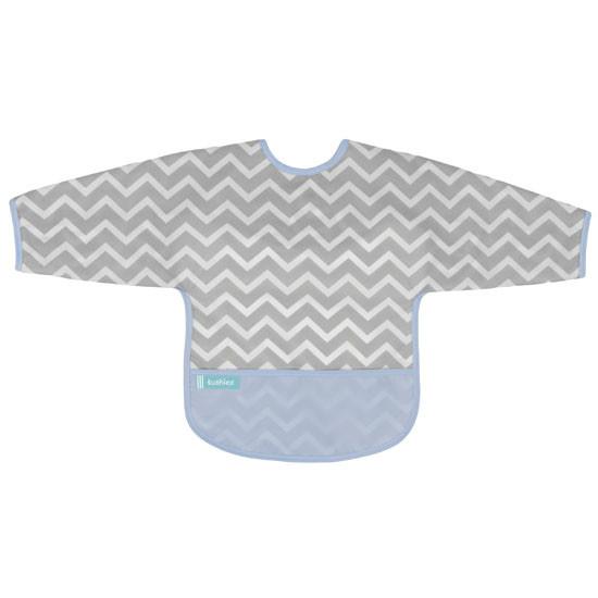 Kushies Cleanbib with Sleeves - Blue Chevron Product