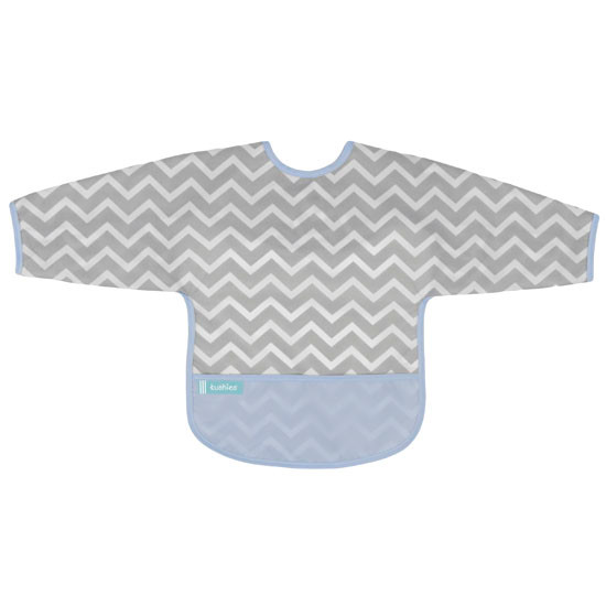 Kushies Cleanbib with Sleeves - Blue Chevron-1