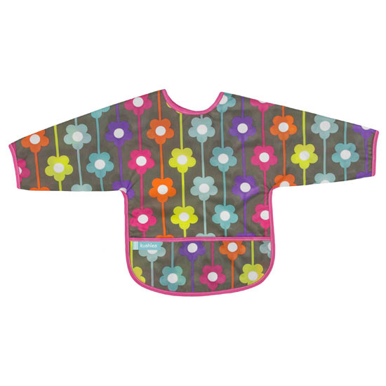 Kushies Cleanbib with Sleeves - Charcoal Daisies Product